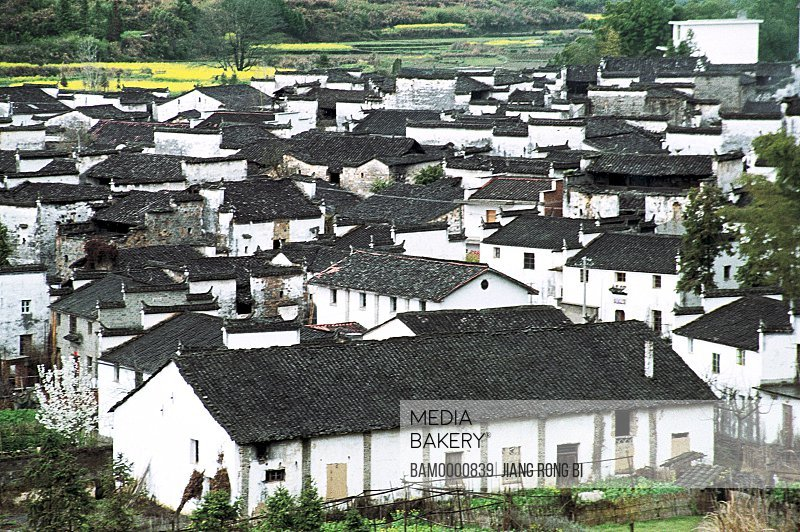 Elevated view of houses Xidi village, Ancient Residence in Xidi Village, Yixian County, Anhui Province, People's Republic of China