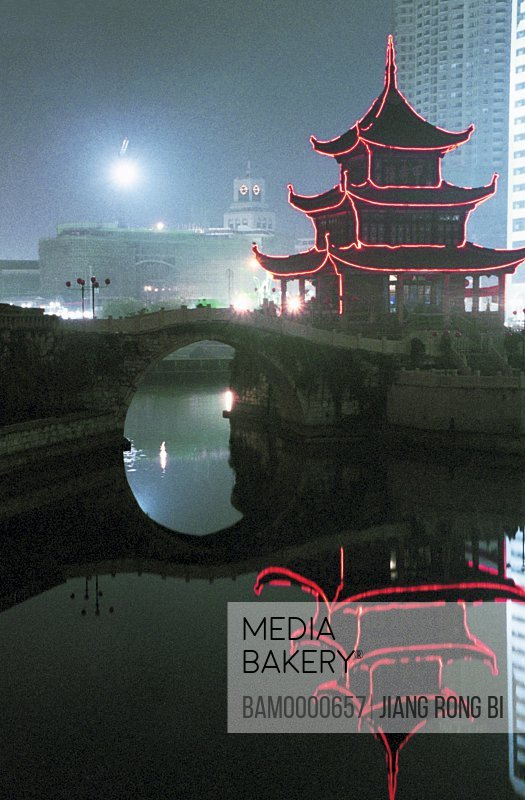 Night scenery of Jiaxiu Building, Guiyang City, Guizhou Province of People's Republic of China