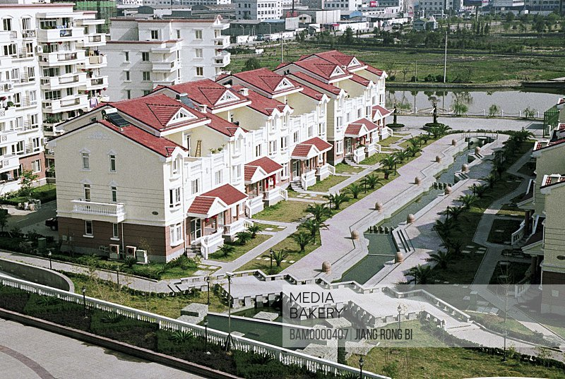 Elevated view of buildings, Private Villa Newly Built in Yongchang County, Yongchang County, Wenzhou City, Zhejiang Province, People's Republic of China