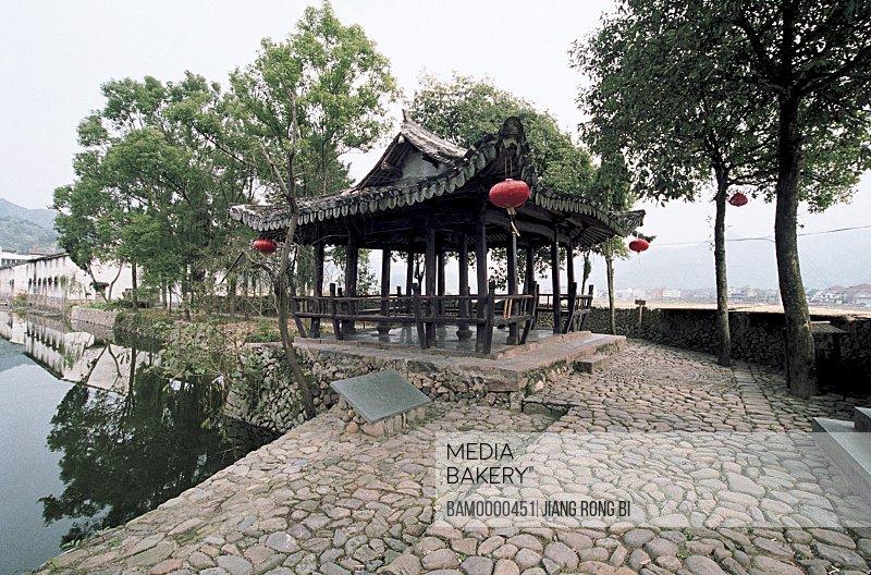 Chinese lanterns hanging from roof, Wangxiong Pavilion in Cangpo Village , Nanxi River, Yongjia County, Zhejiang Province, People's Republic of China