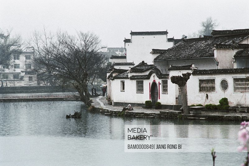Houses by lake in Hongcun village, Ancient Residence in Hongcun Village, Yixian County, Anhui Province, People's Republic of China