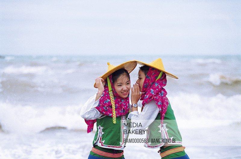 Girls whispering, Attractive Huian Ladies on Beach, Chongwu Town, Huian County, Fujian Province, People's Republic of China