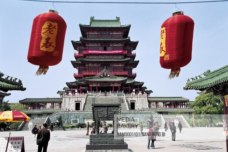 Chinese lanterns hanging with temple in background, Tengwangge Scenery built in Tang dynasty, Nanchang City, Jiangxi Province of People's Republic of China