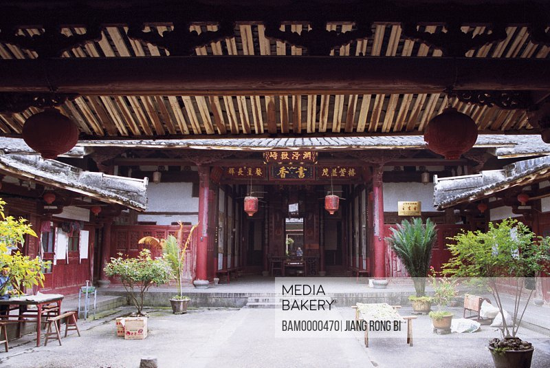 Entrance of house with Chinese lanterns, Honglincuo Ancient Dwelling, Minqing County, Fuzhou City, Fujian Province, People's Republic of China
