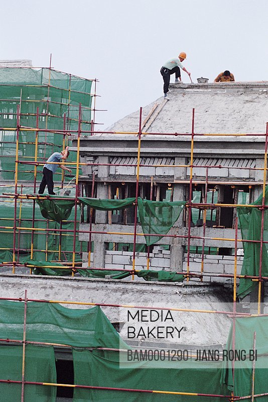 People working at construction site, Building Site of Jin'an District No. 5 Central Primary School, Fuzhou City, Fujian Province, PRC