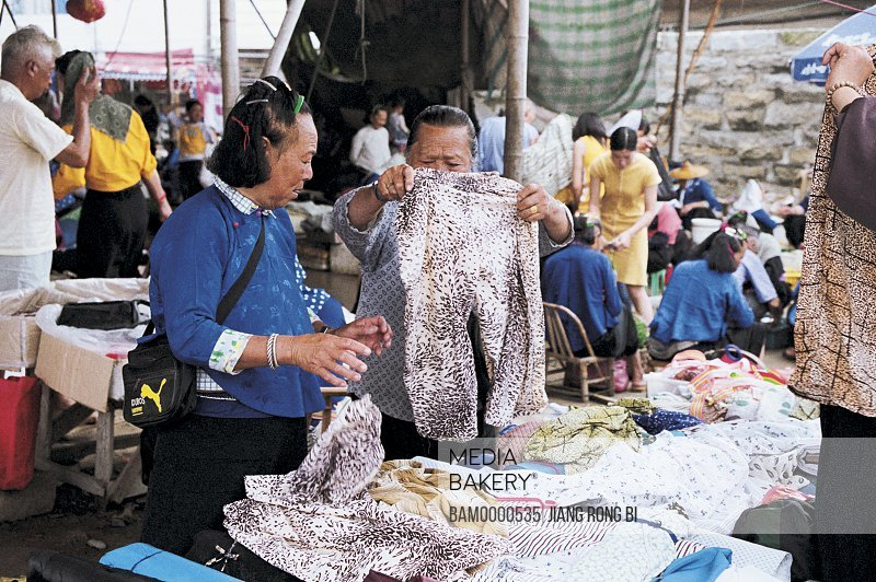 Huian Ladies Buying Clothes on Free Market in Dazuo Village, Chongwu Town, Huian County, Fujian Province, People's Republic of China