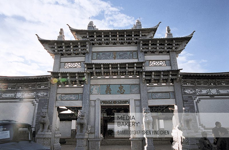 Exterior of a shrine, Front door of wooden storehouse government office , Lijiang old city, Yunnan Province of People's Republic of China