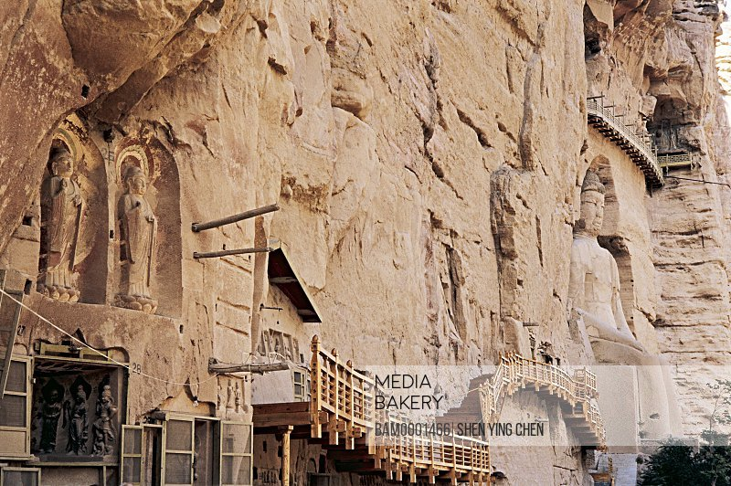Ancient carved Buddha of Tang and Song dynasty in Bingling Temple Rock Cave, Liujia Gorge, Yongjin County, Gansu Province of People's Republic of China