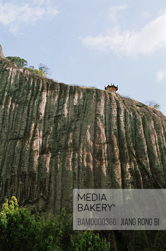 Temple on the top of mountain, View of Shaibu Rock of Mount Wuyi, Wuyishan City, Fujian Province, People's Republic of China