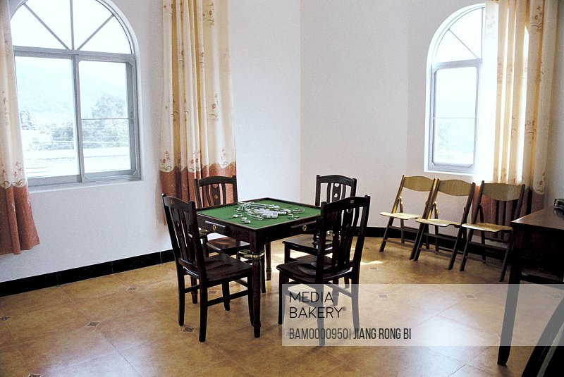 View of interior of a room, Mah-jong Table in Private Residence of Baiyun Village, Minqing County, Fuzhou City, Fujian Province, People's Republic of China