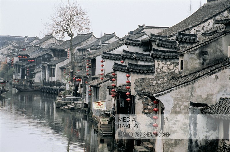 View of a congested settlement by river, Ming and Qing dynasty historic building of old Xitang Town, Jiaxing city of Zhejiang province in People'c republic of China