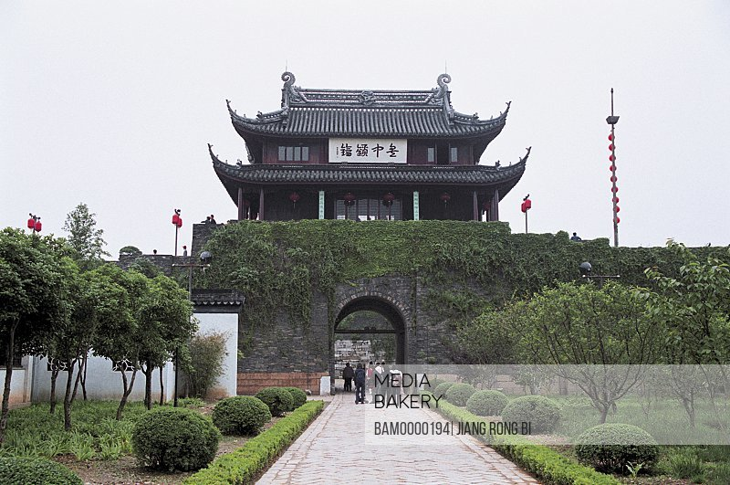 Tourists entering a shrine, The scenery of Panmen in Suzhou, Suzhou City, Jiangsu Province of People's Republic of China