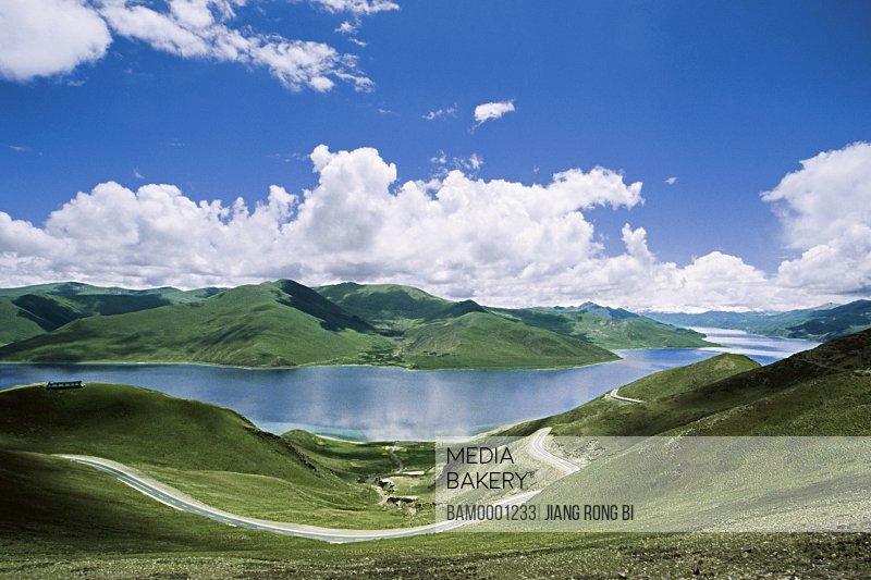 View of a river amid mountains, One of Tibetan Holy Lakes-- Yamdrok Yamtso Lake, Nagarze County, Tibet Autonomous Region, PRC