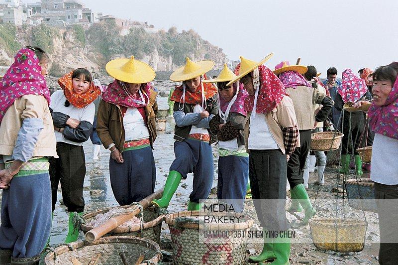 Huian Woman are selecting the sea goods at Xiaozuo Village wharf, Xiaozuo Village, Huian County, Fujian Province of People's Republic of China