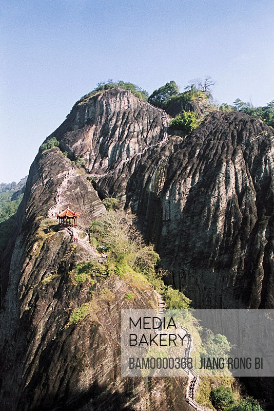 Temple on the mountain, View of Tianyou Peak of Mount Wuyi, Wuyishan City, Fujian Province, People's Republic of China