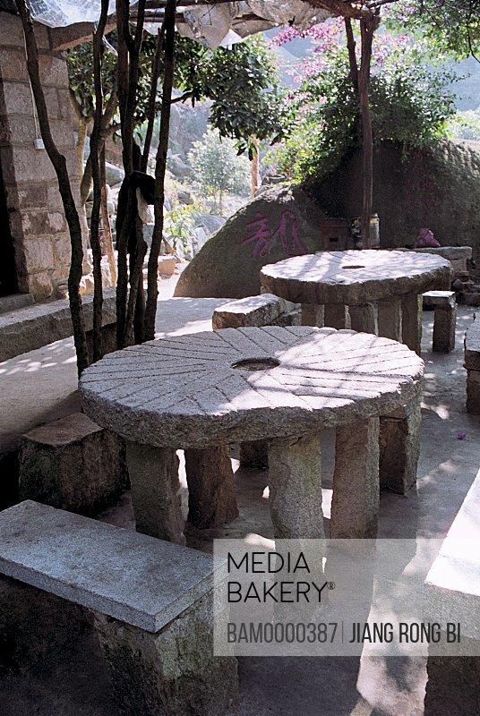 View of stone tables, the Moxi mountain, Fuzhou City, Fujian Province, People's Republic of China