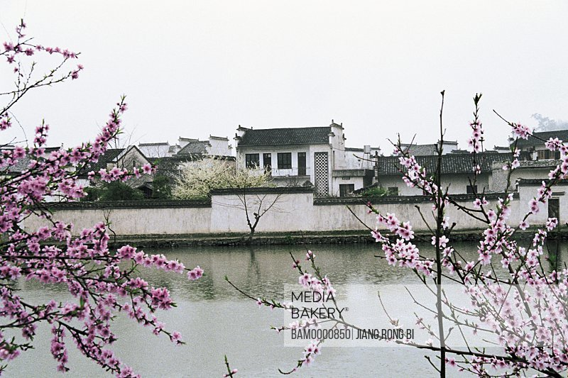 Houses and Spring Scenery of Nanhu Lake in Hongcun Village, Yixian County, Anhui Province, People's Republic of China