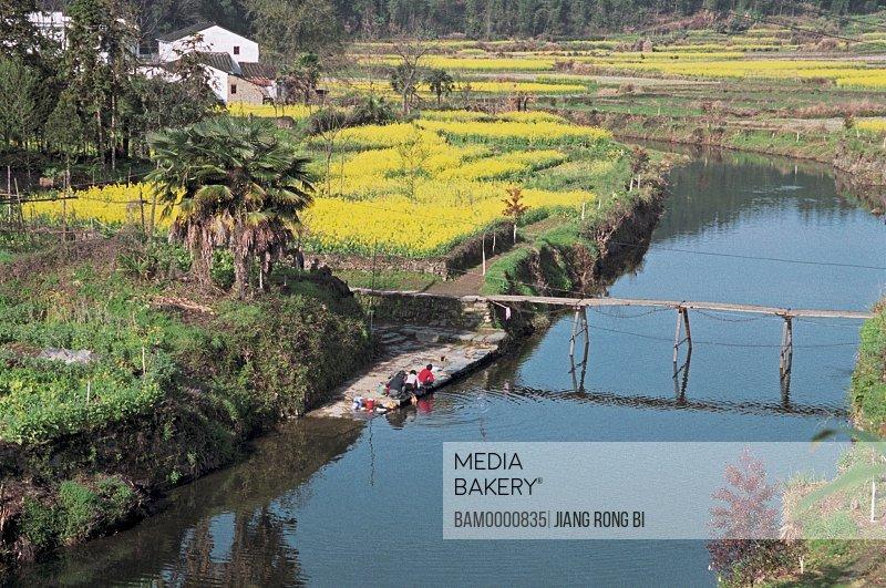 Elevated view of Yan village, Yancun Village, Wuyuan County, Jiangxi Province of People's Republic of China