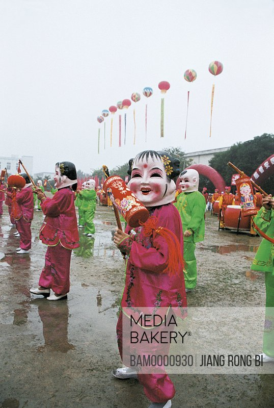 The big head baby's performance in the folk festival in Jin'an district, Fuzhou City, Fujian Province, People's Republic of China
