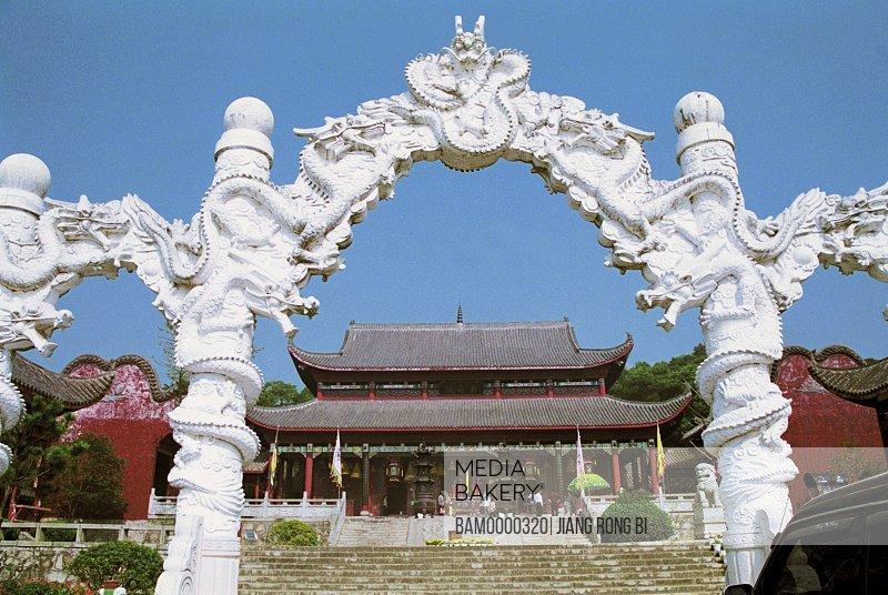 View of a entrance of Dongting temple, in the Junshan Park, Yueyang City, Hunan Province, People's Republic of China