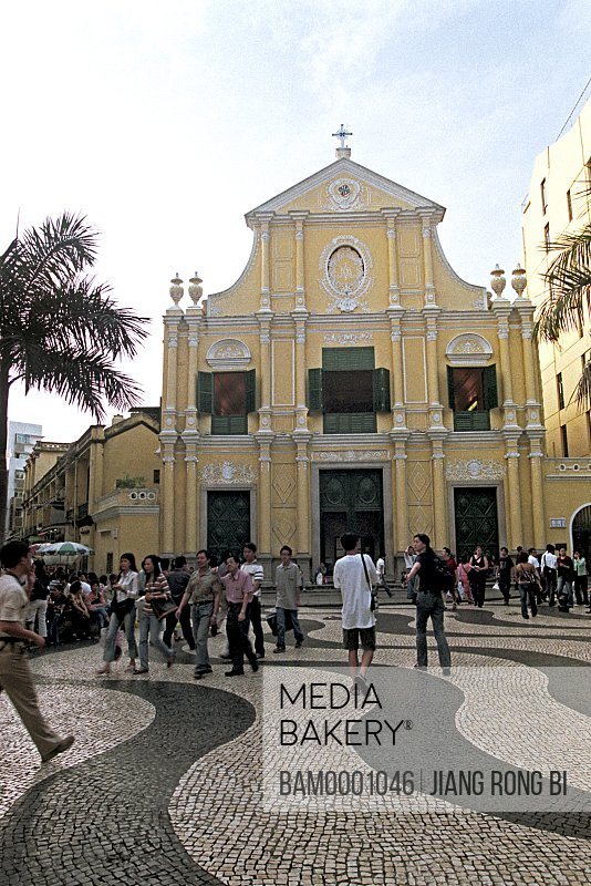 View of people walking in front of Rose church of goddess, Macao special administration region of People's Republic of China