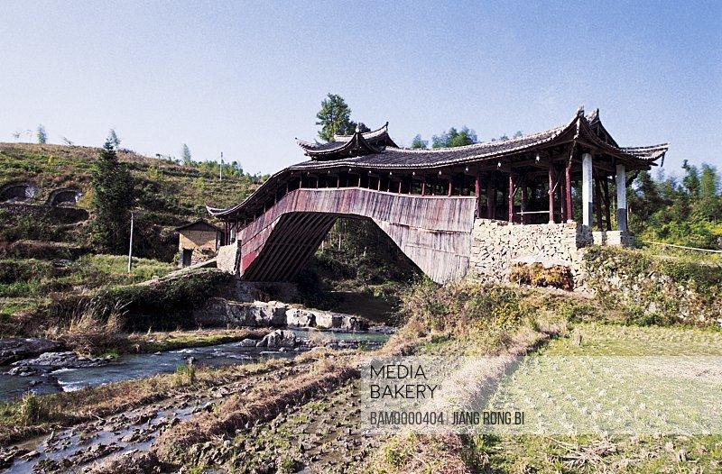 Bridge over river, Ancient Wenguang Bridge Built in Qing Dynasty in Taishun, Taishun County, Zhejiang Province, People's Republic of China