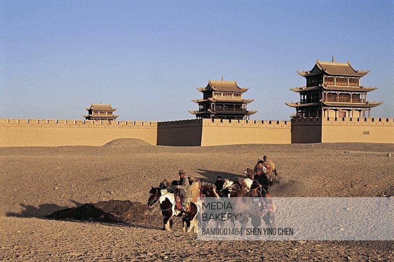 Horse caravan passed Jiayuguan, Jiayuguan Greatwall, Gansu Province of People's Republic of China