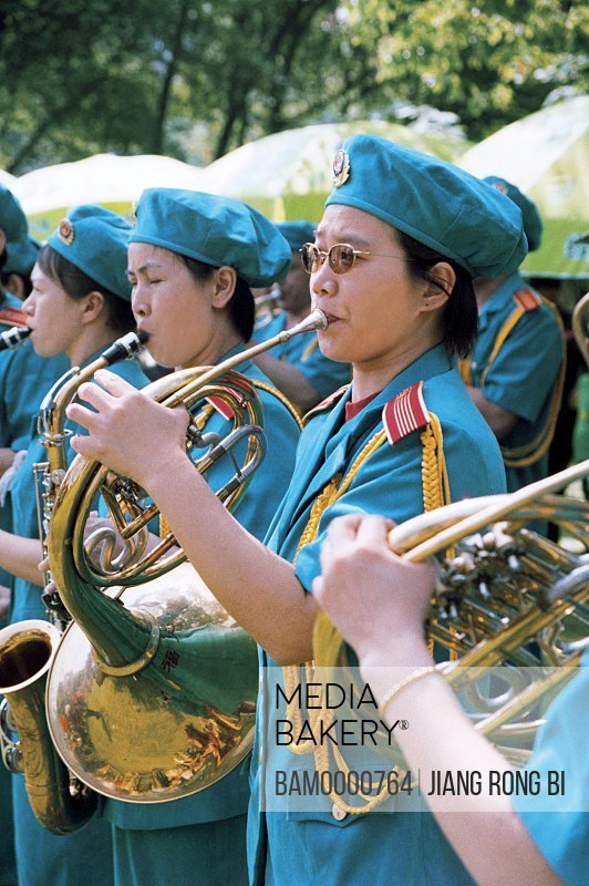 """Women Buglers for """"Banyan Festival"""" Held in Forest Park, Fuzhou City, Fujian Province, People's Republic of China"""