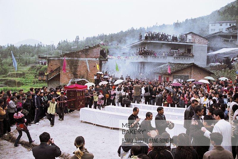 People carrying palanquin, Folk Custom of She Nationality on March 3rd, Huokou Township, Luoyuan County, Fuzhou City, Fujian Province, PRC