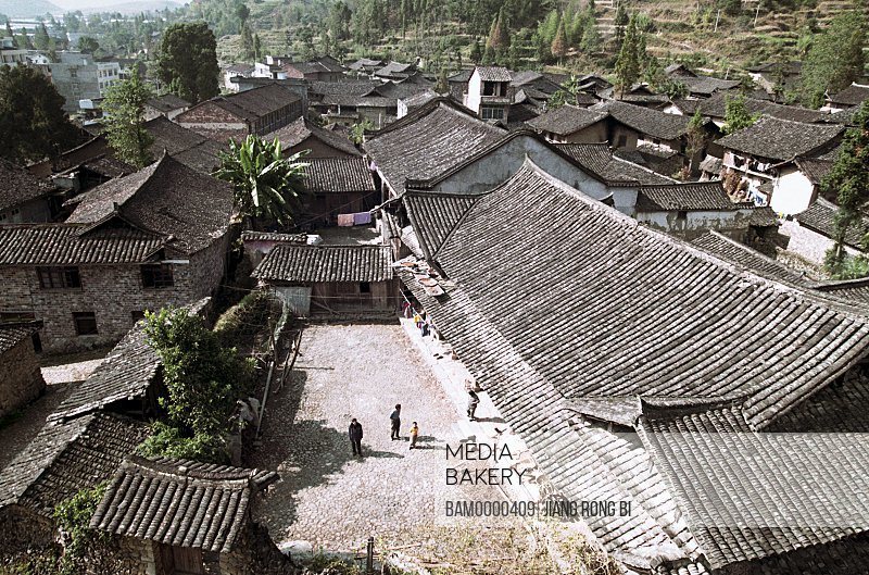 Elevated view of roofed houses, Ancient Residence in Taishun, Taishun County, Zhejiang Province, People's Republic of China