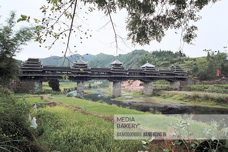 Scenery of Fengyu bridge in Chengyang, Sanjiang County, Liuzhou City, Guangxi Zhuang Nationality Autonomous Region of People's Republic of China