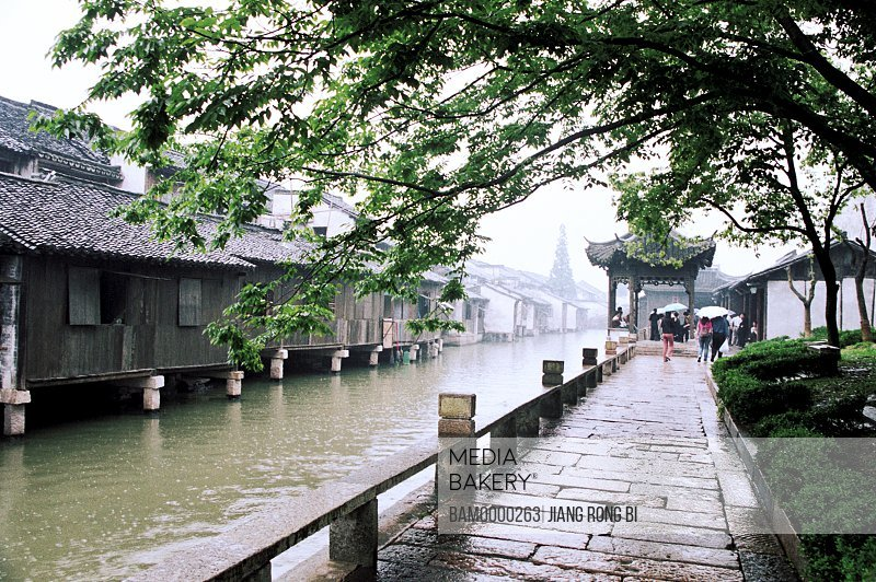 Flagging besides river, Flagging beside River in Wuzhen Town, Tongxiang City, Zhejiang Province, People's Republic of China