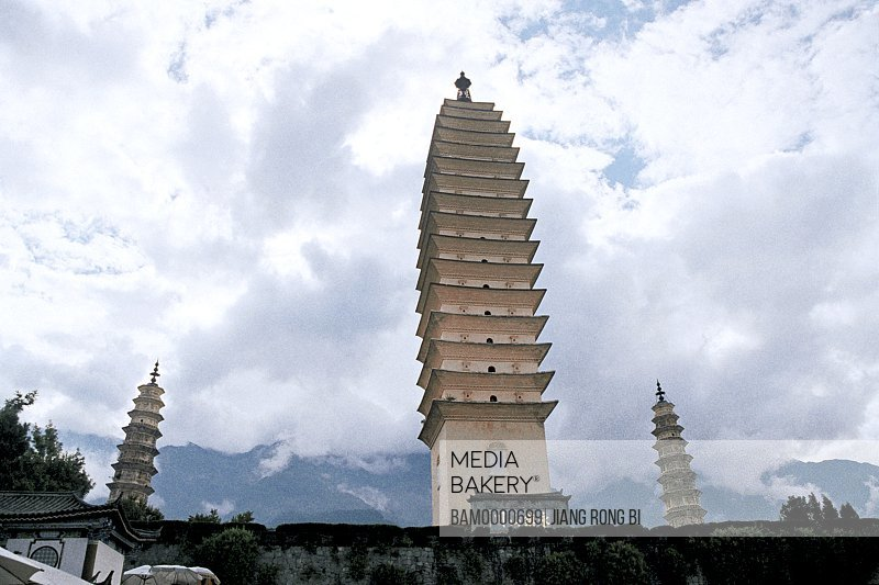 Low angle view of Grand Three Pagodas of Congsheng Temple in Dali, Dali City, Yunnan Province, People's Republic of China