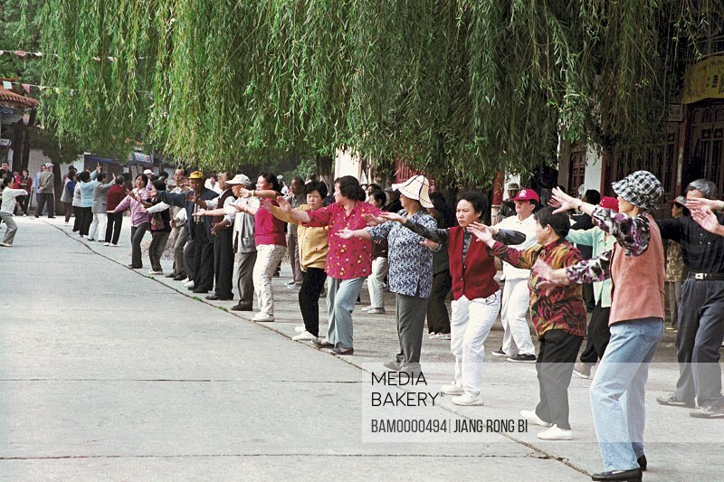 View of people doing Morning Exercise in Cuihu Park, Kunming City, Yunnan Province, People's Republic of China