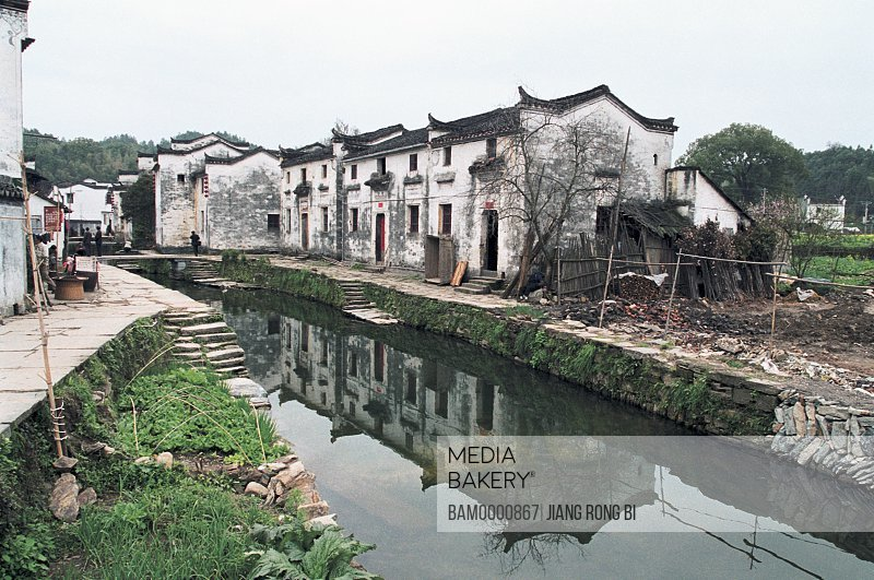 Houses by stream in Likeng village, Ancient common people residence of Huipai in Likeng Village, Likeng Village, Wuyuan County, Jiangxi Province of People's Republic of China
