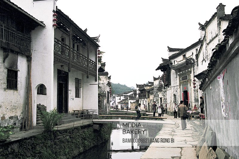 Stone bridge over the stream in Likeng village, Wuyuan County, Jiangxi Province of People's Republic of China