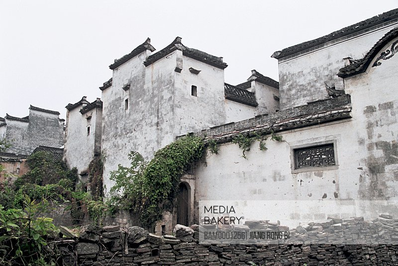 Low angle view of pile of bricks by buildings, Ancient Residence in Pingshan Village, Yixian County, Anhui Province, PRC