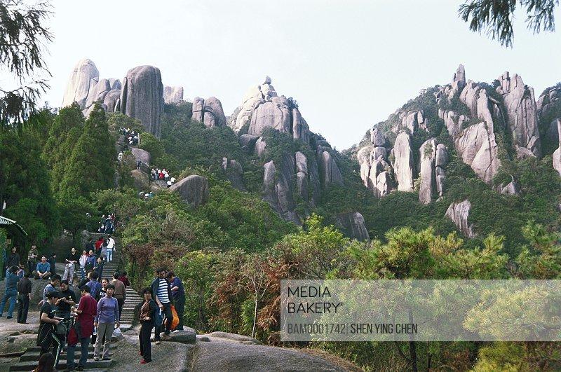 Tourists climbing stairs to mountains, Scenery of Taimu moutain, Taimu Mountain, Fuding County, Fujian Province of People's Republic of China