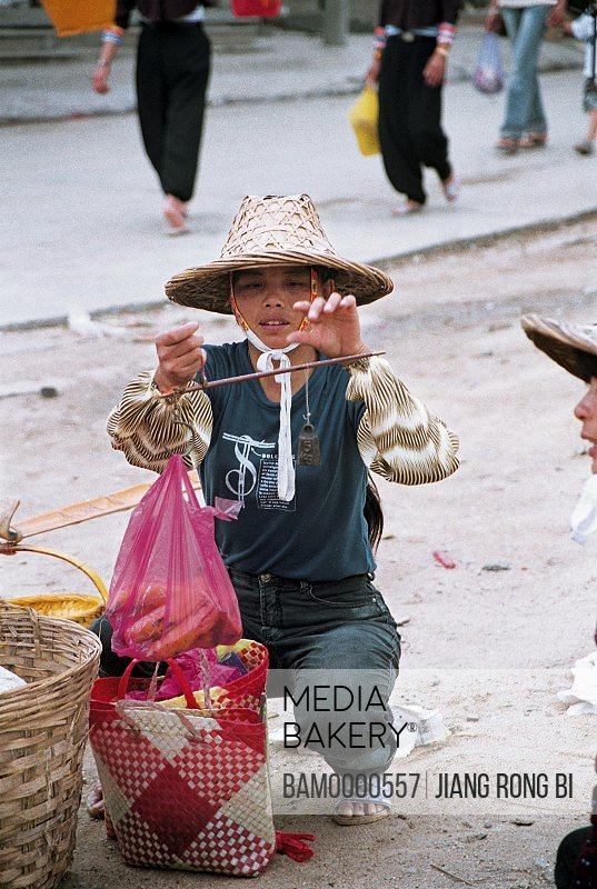 Huian Lady Selling Banana on Free Market, Chongwu Town, Huian County, Fujian Province, People's Republic of China