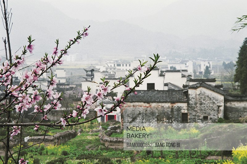 Hongcun village in spring, Spring Scenery of Hongcun Village, Yixian County, Anhui Province, People's Republic of China