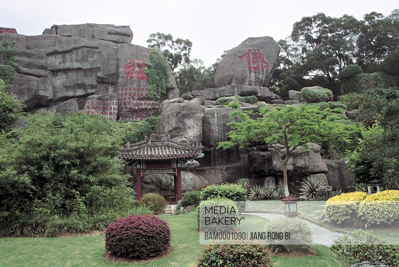 Carved stone in New Yuanming garden, Zhuhai City, Guangdong Province of People's Republic of China