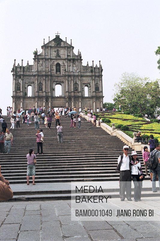 Low angle view of tourists on stairs, Macao symbolic construction--Ruins of St. Paul , Macao special administration region of People's Republic of China