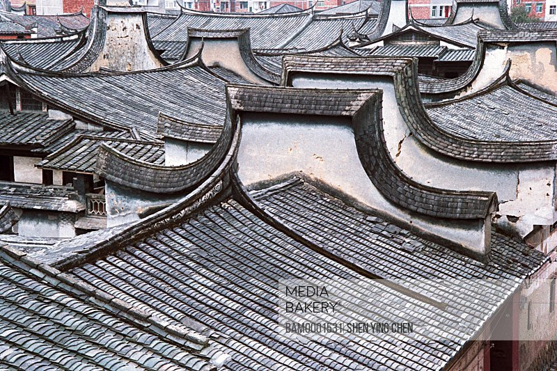 The roof of the ancient common people residence of Great Honglin Places, Great Honglin Places, Mingqing County, Fujian Province of People's Republic of China