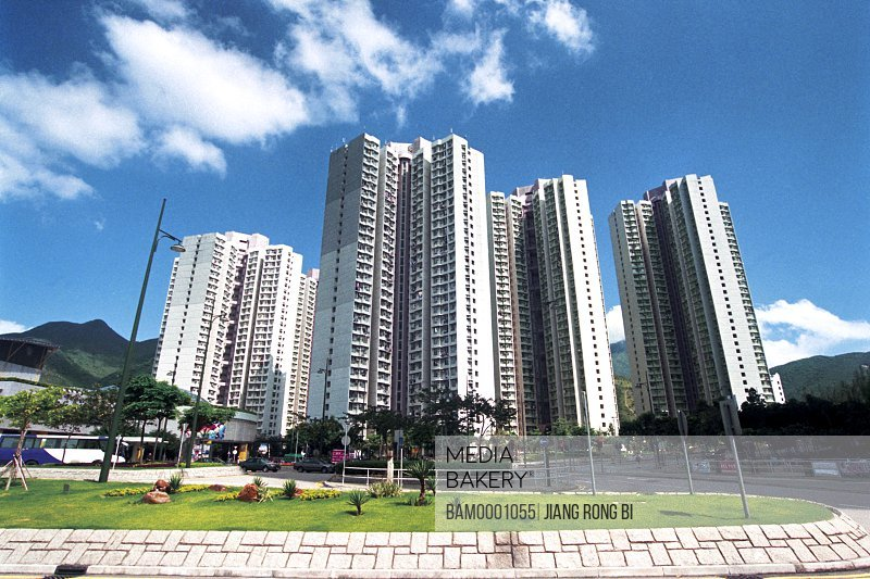 Low angle view of buildings against sky, Hongkong sub-distant of turret looks into the distance, Hongkong special administration region of People's Republic of China