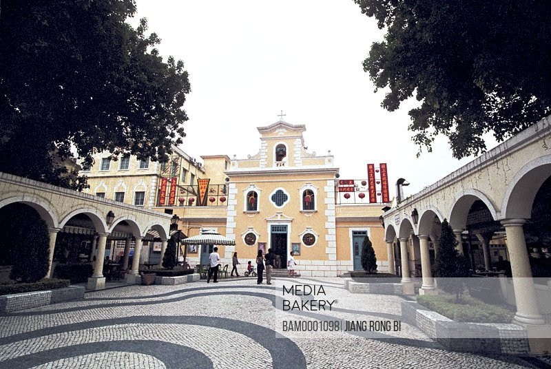 People standing in front of Macao church, Macao special administration region of People's Republic of China
