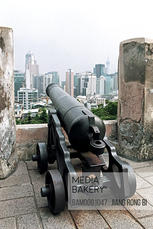 View of a cannon facing buildings, The oldest big Fort in Macao, Macao special administration region of People's Republic of China