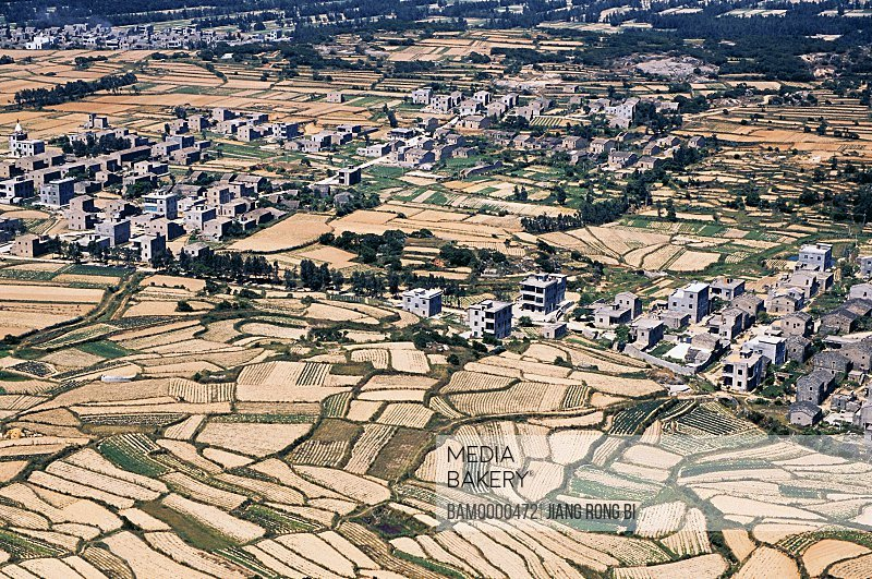 Elevated view of houses by field, Rurality on Pingtan Island, Pingtan County, Fujian Province, People's Republic of China