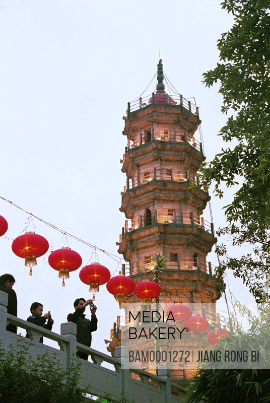 People celebrating the lantern festival in Luoxing tower park, Both Mawei and Mazu are celebrating the lantern festival in Luoxing tower park, Mawei District , Fuzhou City, Fujian Province, People's Republic of China