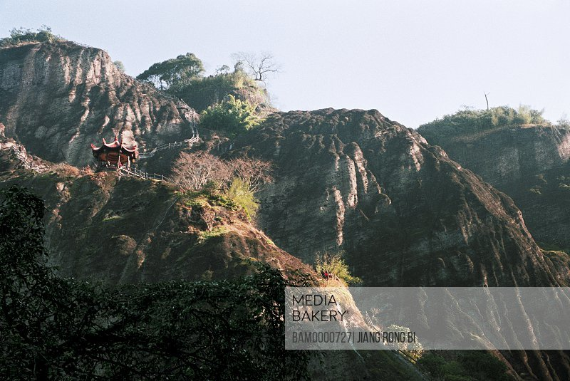 low angle view of people walking on staircase, Scenery of Banshan Pavilion on Tianyou Peak of Mount Wuyi, Wuyishan City, Fujian Province, People's Republic of China