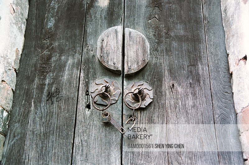 Wooden gate door lock of the Likeng village, Wuyuan County, Jiangxi Province of People's Republic of China